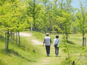 健康のために歩いている夫婦