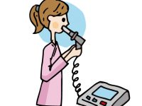 肺活量を計る女性