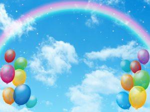 青空と虹と風船