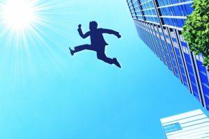 ジャンプする営業マン